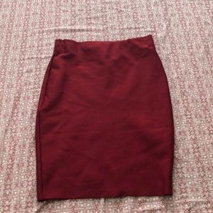 Red tight pencil skirt